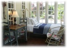 sleeping porch bed bedroom airy cheerful