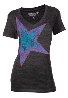 Dallas Cowboys T-Shirt- Women's Charcoal Grey Neon Pink and Blue Star Tee