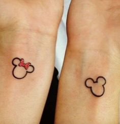 Cute, small and subtle Disney Tattoos, Ideas and Quotes for couples and sisters. These Walt Disney Tattoos are unique and great for inspiration. Walt Disney Tattoos, Disney Tattoos For Men, Disney Couple Tattoos, Best Couple Tattoos, Tattoos For Guys, Tattoos For Women, Tattoo Disney, Matching Disney Tattoos, Disney Couples