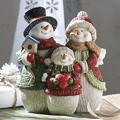 Snowman Family Figurine from Through the Country Door® Easy Christmas Ornaments, Christmas Figurines, Christmas Items, Christmas Snowman, Simple Christmas, Christmas Holidays, Christmas Crafts, Christmas Decorations, Diy And Crafts