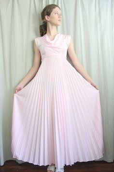 1970s Vintage Party Dress in Pale Pink with Pleated by adVintagous, $30.00