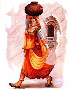 Beautiful art women water colors New ideas Rajasthani Painting, Rajasthani Art, Indian Women Painting, Indian Art Paintings, Indian Drawing, Composition Painting, Madhubani Painting, Kalamkari Painting, Madhubani Art