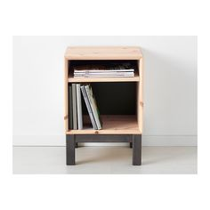 Raw wood Nightstand. ( would use different legs. And if building it yourself, you could add a little drop down door for the top section. (Acts like a drawer, without having to install a drawer.)