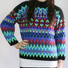 Neon Fair Isle Sweater, now featured on Fab.