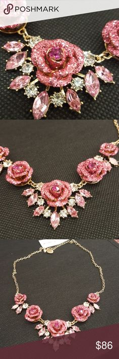 Betsey Johnson pink crystal rose necklace Pink and clear crystal set gold..Short chain Betsey Johnson Jewelry Necklaces