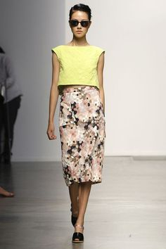 Rachel Comey SS13 pop of acid yellow and neutral camo