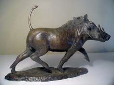 Bronze Field Sports, Game Birds and Game Animals sculpture by artist John Ellison titled: 'Warthog (Trotting Warthog statuette/sculpture/statue/figurine)'