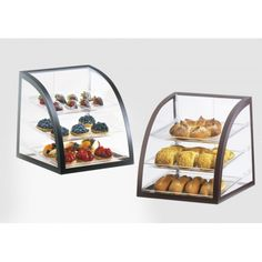 Iron Display Case Item: P255-13 (Black) P255-48 (Brown) This  attendant-serve bakery display case features  beautiful clear body and a sturdy frame that will complement any bakery, coffee shop, or market. With it's rear access door, this case allows full service from the attendant. You are sure to attract guests to your bagels, donuts, pastries, or other hand foods with this eye-catching Euro designed  metal trim case!