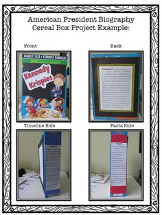 Cereal Box Biography Reports  Literature Ideas