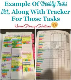 Example of weekly tasks list, along with tracker for those tasks {on Home Storage Solutions 101} Weekly Cleaning, Deep Cleaning Tips, House Cleaning Tips, Spring Cleaning, Cleaning Hacks, Household Notebook, Household Tips, Sweat Stains, Home Storage Solutions
