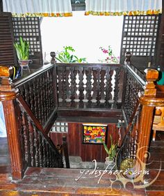 Old Spanish House Wooden Stairs Spanish House, Spanish Colonial, Wooden Stairs, Wooden Doors, Filipino Architecture, House Of Gold, Philippine Houses, Filipino Culture, Antique House