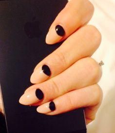 Half Moon And Black Nails Stiletto