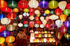 Lanterns and woodwork in Vietnam Hoi An, Batik Art, Lantern Festival, Japanese Aesthetic, Chinese Lanterns, Handmade Furniture, Light And Shadow, Amazing Destinations, Interior Design Inspiration