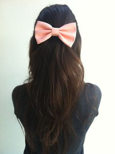 Light Peach Pink BIG hair bow