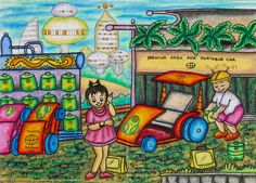 'Eco-friendly Portable Car. This car can be folded into a wheeled bag. It doesn't pollute air, because it runs on electricity. The electrical battery is charged with electric eel power, so the final waste can be recycled into eel based meals.' by Harstwin Falianttera Putra Romadlon #KidsArt #ToyotaDreamCar