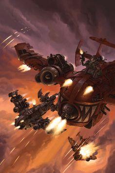 Fantasy Flight Games [News] - Blood and Plunder Warhammer 40k Art, Warhammer Fantasy, Orks 40k, Arsenal, Starcraft, Geek Art, Illustration Sketches, Sci Fi Art, Dieselpunk
