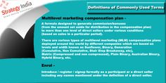 """Two more terms used frequently in the world of Multilevel Marketing. Click to know whats does mean by """"Enrol"""" and """"Multilevel Marketing Compensation Plan"""". For more information visit www.strategyindia.com  #multilevelmarketing #compensation #plan"""