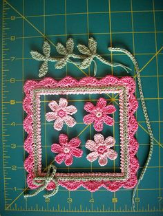 """Dizzy Designs """"exclusive"""" Square Photo Frame by Diane Zyla. Crochet-created on a firm flexible base yet lightweight enough for any of your card making, scrapbooking or crafting projects. Crochet Bebe, Irish Crochet, Crochet Motif, Crochet Flowers, Crochet Stitches, Crochet Patterns, Crochet Ideas, Crochet Shell Blanket, Crafty Craft"""