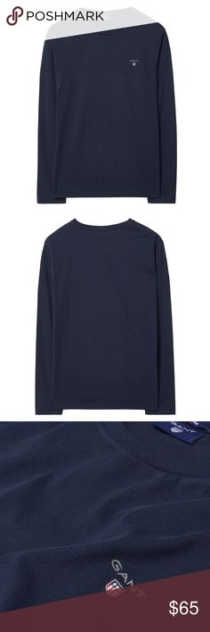 GANT Long-Sleeved Cotton T-Shirt Long-Sleeved Cotton T-Shirt, in 100% cotton, features a rounded neck with chain stitching at the back, short sleeves and an embroidered GANT shield on the chest. Gant Shirts Tees - Long Sleeve