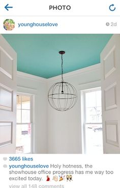 Guest room ceiling idea via Young House Love.