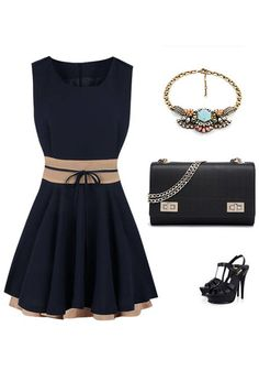 Blue Sleeveless Skater Dress - Sleelvess Skater Dress
