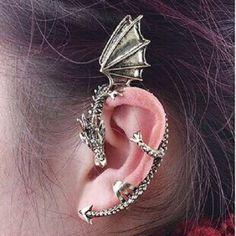 Mono orecchino singolo drago piegato fantasy bronzo celtico celtic earring