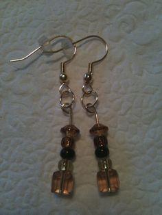 Vaseline Amber & Black Beaded Earrings 60 by GodsGlitter on Etsy, $8.00