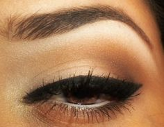 highlighter under brow & thick cat eye