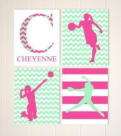 Sports art, teen girl gift, inspirational quotes art, girls basketball, girls volleyball, softball art, custom colors, set of 4 prints by PicabooArtStudio