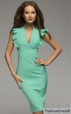 Sexy Mint Dress.Pleat Sleeve Dress Party.Casual by FashionDress8