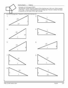 Printables Pythagorean Triples Worksheet pythagorean theorem worksheets cos law worksheet pdf math practice worksheets