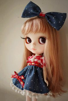 1 : 6 Scale Blythe Country Style Red Checks and Polka Dot Dress,Hair Accessories is included