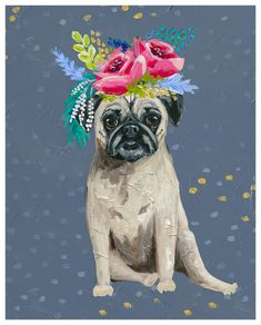 Embrace your whimsical side with Fancy Pugs - Crown. Pair with Fancy Pugs - Floral for double the impact. Find more art by Copper Corners by Mary Catheryn here. Our canvas wall art and art prints are proudly printed in the USA using the coveted gicl&eacut Pug Pictures, Pug Pics, Vintage Pictures, Dog Paintings, Acrylic Paintings, Pug Mug, Learn Art, Floral Wall Art, Pug Puppies