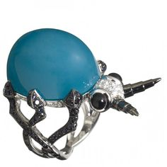 Bug Me ring in white gold with chrysocolla, white diamonds, black sapphires and onyx by Stephen Webster