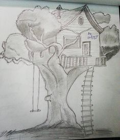 Tree House pencil drawing. #drawingoftheday #pencil #pencildrawing #drawing #art #easydrawing #beginers