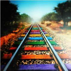cool rainbow idea for my traintrack tattoo
