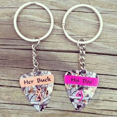 Perfect for the country couple!!! Her Buck & His Doe on Mossy Oak camo guitar pick Matching keychains   #countrycouple #relationshipgoals #countrykeychains