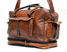 0a33ba682bb9 Men s duffel genuine Leather large vintage travel gym weekend overnight bag  NEW