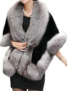 Helan Women's Soft Long Faux Fox Fur…