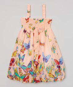 Peach Butterfly Babydoll Dress - Infant, Toddler & Girls