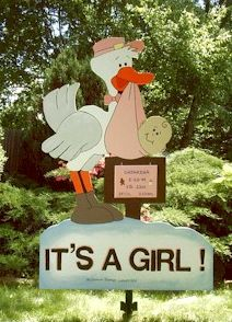 Girl Stork  7 Foot Sign