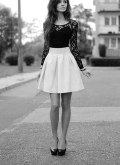 Perfect skirt length. Love all the pieces but not together. Too femme with not enough contrast for me.