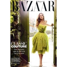 Drew Barrymore Harper's Bazaar US October 2010 ❤ liked on Polyvore featuring models, people, backgrounds, magazine, pictures and magazine cover