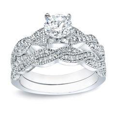 Auriya 14k Gold 1ct TDW Round Diamond Bridal Ring Set (I-J, I1-I2), White, Size 5.5
