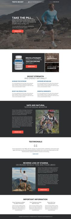responsive testosterone booster pills selling landing page design