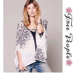 "Free People Lace up Kimono Top Beautiful sheer feathery billowing lace- up top crafted with lush tassels an a pretty handkerchief hem...26"" shortest to 36"" longest.size is XS/s, will easily fit up to a med Free People Tops"
