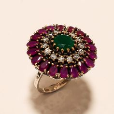 Chaming Emerald, Ruby Gemstone 925 Sterling Silver Turkish Jewelry Fashion  Ring #Handmade #Cocktail #EasterGift