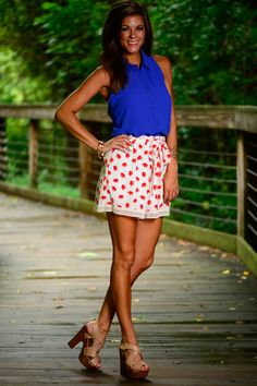Elephant Walk Shorts, Red-White - The Mint Julep Boutique