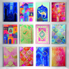 September passion color joy painting challenge! I choose to paint about morocco, these are my 12 favorite paintings from the challenge. Chefchaouen, Marrakech, Essaoira, Camels, Moroccan tiles, moroccan rugs, garden majorette, hamsa. Inspiration. Mixed media art by Carolin Bentbib Moroccan Art, Moroccan Tiles, Painting Inspiration, Art Inspo, Indian Illustration, Aladdin, Arabian Art, Hand Painted Rocks, Jewish Art