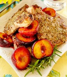 Dry-Rub Grilled Pork Chops with Grilled Plums